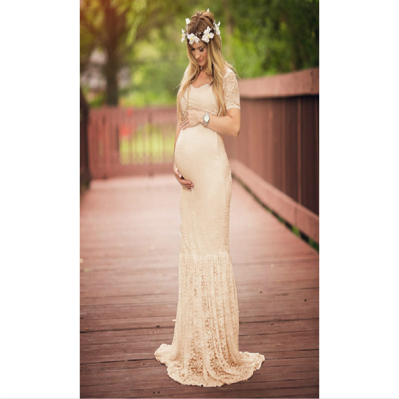Womens White Sexy Deep V Neck Short Sleeve Lace Mermaid Maternity Gown, Colorful Pregnancy Photography Prop Maxi Dress S-XXL