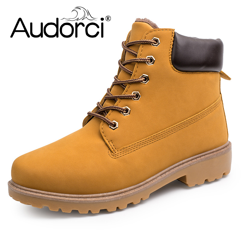 Audorci Faux Suede Leather Men Boots Martin Winter Man Shoes Ankle Boot Military Men's Shoe Work Plus Size39-46 9Colors with fur men s desert military boots touch guy cow suede genuine leather ankle martin boot
