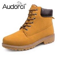 Audorci Faux Suede Leather Men Boots Martin Winter Man Shoes Ankle Boot Military Men S Shoe