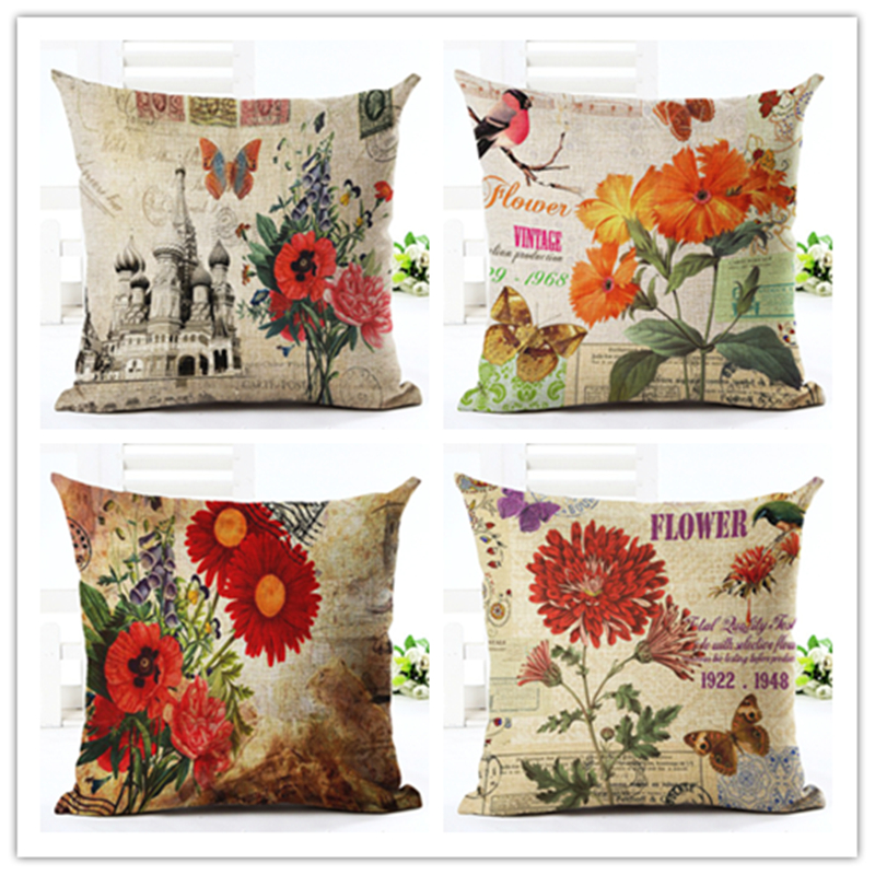 Vintage Style Beautiful Flowers Print Sofa Cushion Decorative Cojines  Cotton Linen Throw Pillow Provide Drop Shipping