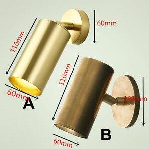 Image 4 - 100% נחושת טהורה צילינדר פליז פליז אור קיר מנורות קיר תאורה קבועה LED מנורת קיר תאורת צינור מתכוונן נחושת