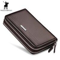 WILLIAMPOLO 2019 Genuine Leather Clutch Bag Mens Double Zipper Wallet Phone Organizer Wallet Handy Purse PL163