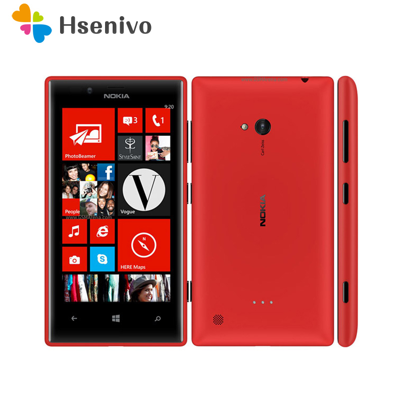 Original Unlocked 720 Nokia Lumia 720 Windows Phone 8 Dual-core 1.0 GHz Camera 6.7MP ROM 8GB 4.3 IPS Capacitive 3G Mobile Phone image