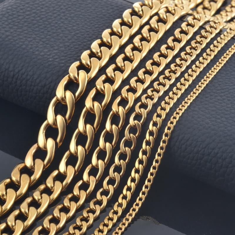 484b3f8b0edd € 2.21 32% de DESCUENTO|¡Nuevo diseño! Cadena moderna para hombres oro 18K,  plata 316, acero inoxidable; Collar para mujeres, Joyería ...