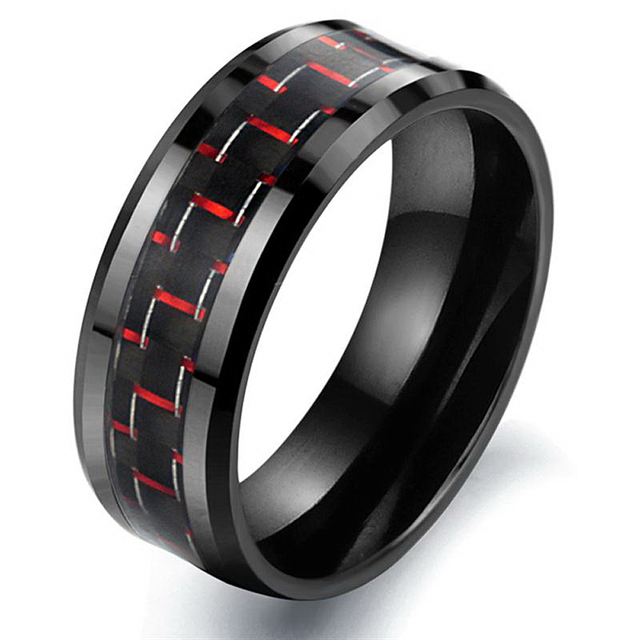 Black Ceramic Ring with Carbon Fiber with Red Element
