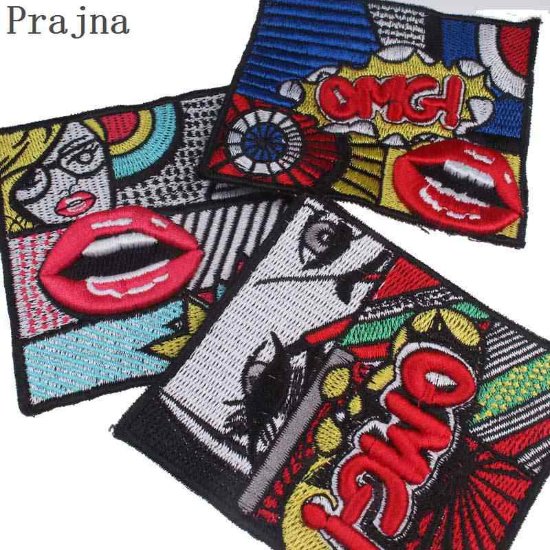 Prajna Letter Patches Embroidered Sew On Japan Band Patch Stalker Space  Kiss Jacket Cloth Fabric Backpack Patches Glueless Badge