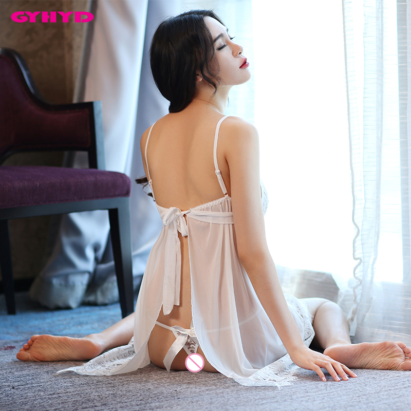 GYHYD New Sexy Sleepwear Women Gauzy Lace Patchwork See Through Babydolls WYTS948