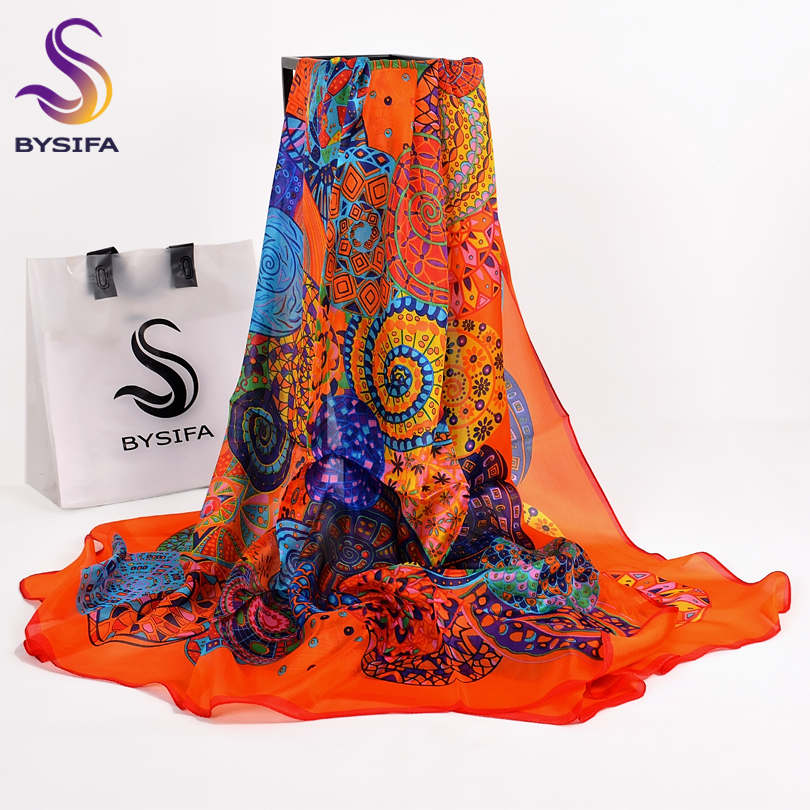Orange Blue Winter Women Pure Silk Scarf Shawl Spring Fall Fashion Large Elegant Classical Long Scarves Wraps Printed 180*110cm