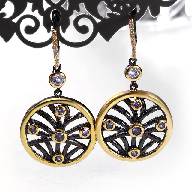 Fashionable Earrings Black And Gold Color Special Occasion Jewelry Whole China Bijoux Femme Fancy Earings