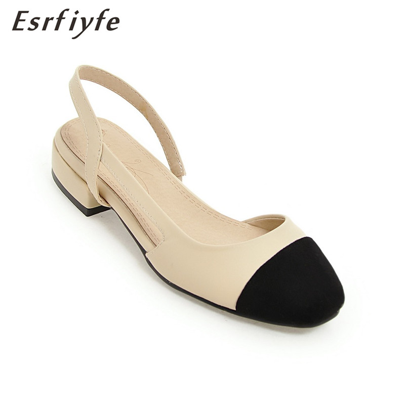 ESRFIYFE 2018 New Back Strap Summer Sandals Square Heels High Quality Grinding Mixed Color Shoes Women Fashion Dancing