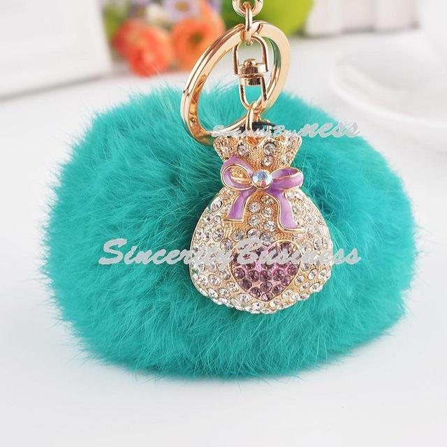 Alloy fireball into creative blessing bag pendant winter car, key chain, with Rhinestone key chain