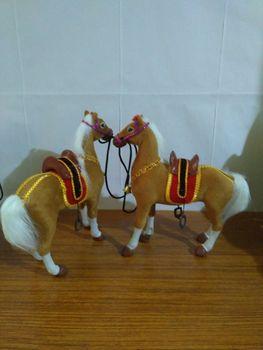 large 26x8x25cm polyethylene&furs saddle horse model Simulation yellow horses one lot/ 2 pieces home decoration gift d1954