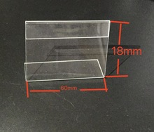 300pcs  60x18mm L-Shaped Transparent Acrylic Stand Supermarket Price Tag Table Card Holder