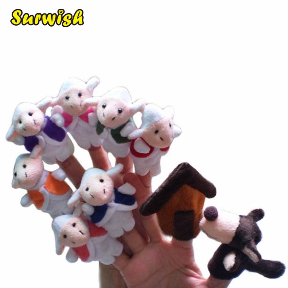 Surwish Fairy Tale The Wolf and the Seven Little Goats Finger Puppets Storytelling Doll Kids Children Baby Educational Toys стоимость