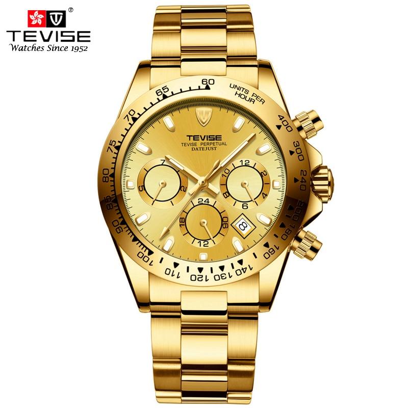 TEVISE роскошные часы Для мужчин Автоматическая человек механические Wind Montres Нержавеющаясталь Авто Дата Неделя Месяц часы Reloj Automatico