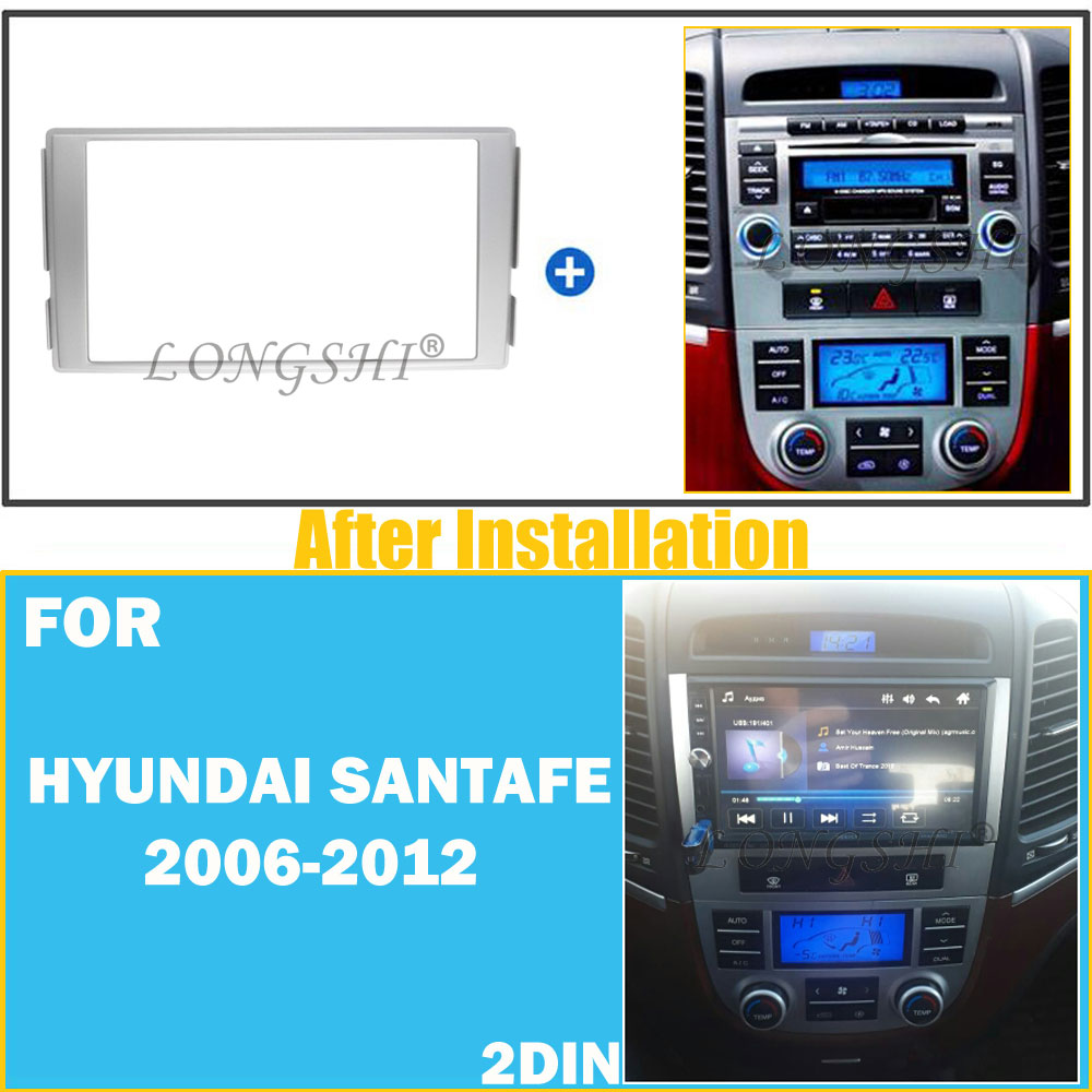 Autostereo Car Stereo Fascia Dash CD Trim Installation Kit for Hyundai Santa Fe 2006-2012 Silver Car Radio Mounting Radio Adaptor Frame Fascia Adaptor
