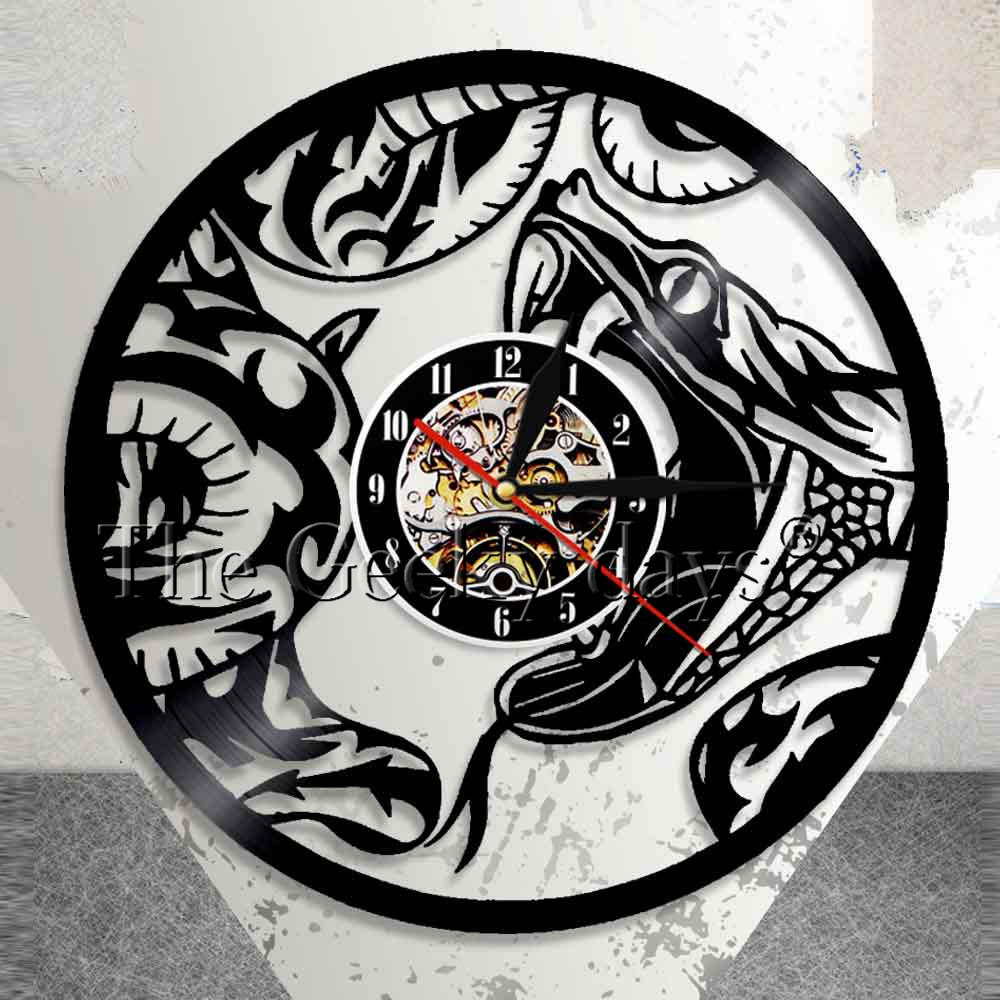 The Snake Serpent Animal Home Wall Art Modern Wall Clock Venom Reptile Vinyl Record Wall Clock Nursery Wall Watch Modern Design