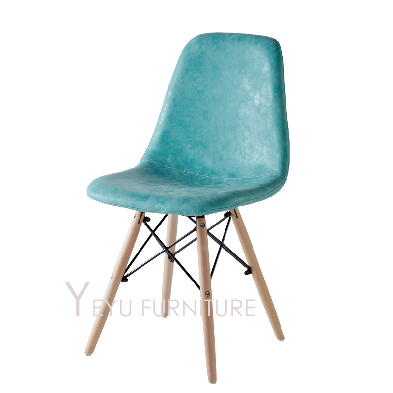 Modern Design Solid Wooden Leg upholstered Chair Wood Dining Chair PU or fabric soft cover Modern furniture soft Pad Cover Chair