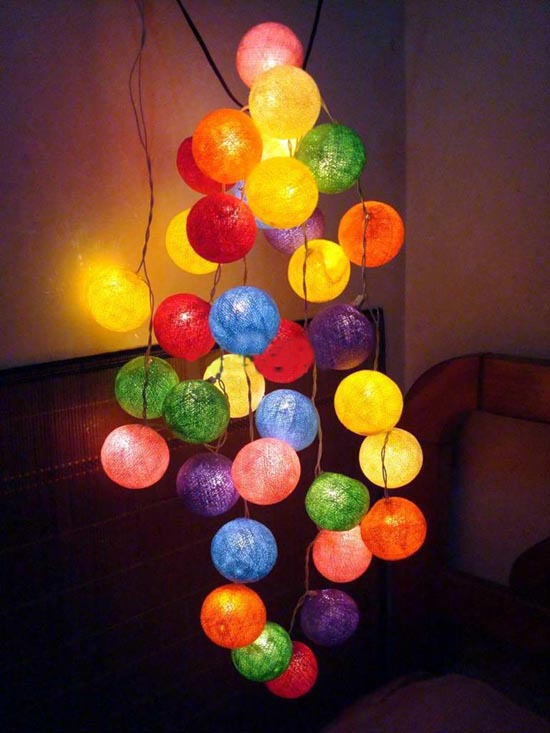 Thai Style Colorful Cotton Ball LED Battery Powered Or US Plug String Lights Fairy For XMas Party Garland Party Wedding