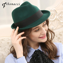 Fibonacci 2018 New Wool Felt Fedoras Hats for Women Men Manhattan Structured Gangster Trilby Bowler Jazz Hat