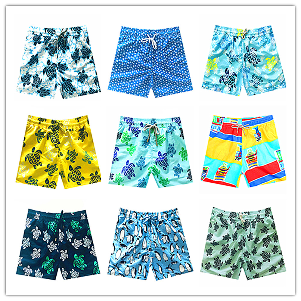 2018 Brand Beach Board   Shorts   Men Swimwear Penguin Turtles Mens Bathing   Short   Homme 100% Quick Dry Elastic Band M-