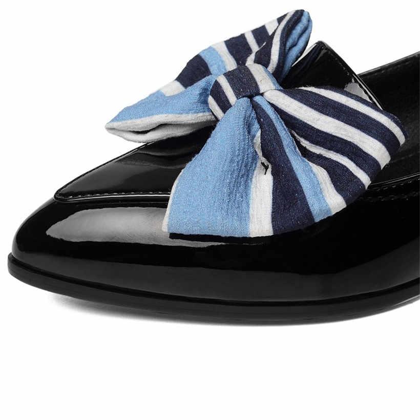 Britse Vrouwen Bowtie Loafers Rode Lakleder Puntschoen Slip-on Vergulde Hak Flats Retro Casual Kantoor Dame Strik mocassins