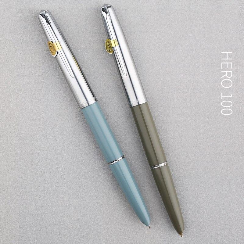 Hero 100 14 K Pennino In Oro Classico Penna Stilografica Autentico Metallo di Qualità Tutto In Acciaio/Semi-Acciaio Inox Eccezionale di Inchiostro scrittura della penna del Regalo Set