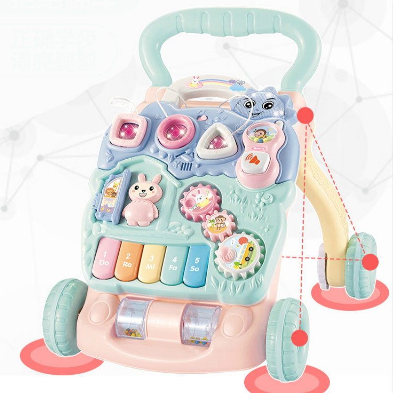 Baby Walker Anti Rollover Baby Learning Step Hand push Trolley Walker Toys Baby Walking Assistant with Music Box For 7-18M Baby foldable baby learning multifunctional baby walker with 6 wheels anti rollover walker car walking assistant music light 7 18 m