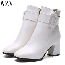 Women Side Zipper Comfortable Square Heel Ankle Boots Fashion Square Toe Keep Warm Winter women boots Black pink White E359