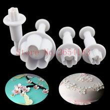 4 шт в форме цветка пластиковые резец плунжера fondant (сахарная)
