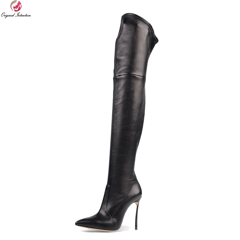 Original Intention New Design Women Over-Knee Boots Fashion Pointed Toe Thin Heels Boots Black Shoes Woman Plus US Size 4-15 customizable fashion women knee high boots sexy pointed toe thin heels leopard boots shoes woman plus size 4 15
