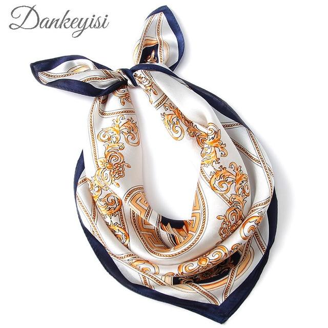 DANKEYISI Luxury Women Square Scarf Bufanda Silk Scarves Female Small Printed Ladies Office Neckerchief Foulard Femme Bandana