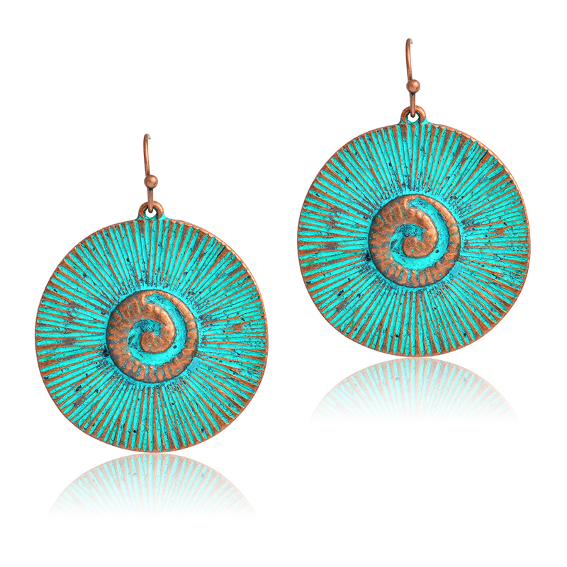 Miss Zoe Vintage Bronze Swirl Eddy Round Drop Earrings Danglers Bohemia Ethnic Retro Charm Earrings BOHO Jewelry For Women