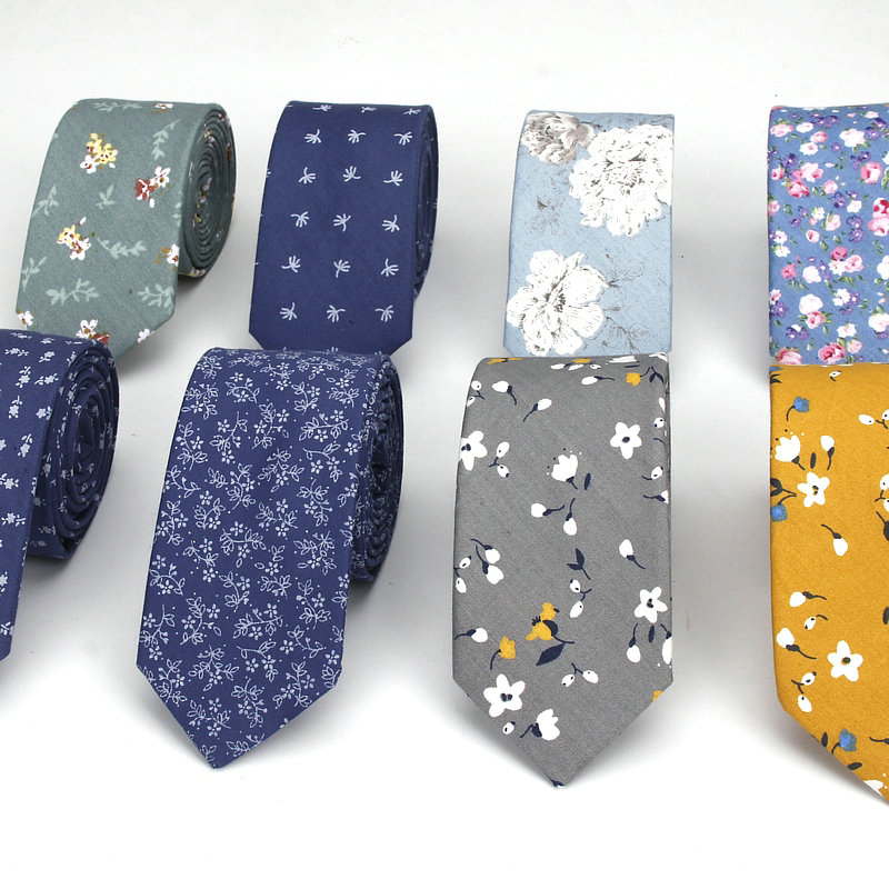 Brand New Men's Floral Neck Ties For Man Casual Cotton Slim Tie Gravata Skinny Wedding Business Neckties New Design Men Ties