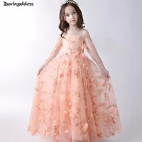 Darlingoddess 2018 Long Sleeves Flower Girl Dresses For Weddings 3D Flowers Lace First Communion Dresses For Girls Pageant Dress