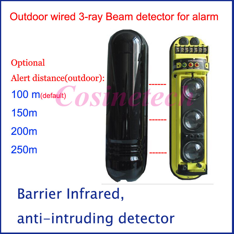3 Rays tri-beam wired outdoor/ indoor beam detector sensor IR perimeter,barrier infrared motion security alarm system ir 4beams outdoor 20m infrared barrier detector home yard door alarm for my gsm alarm system