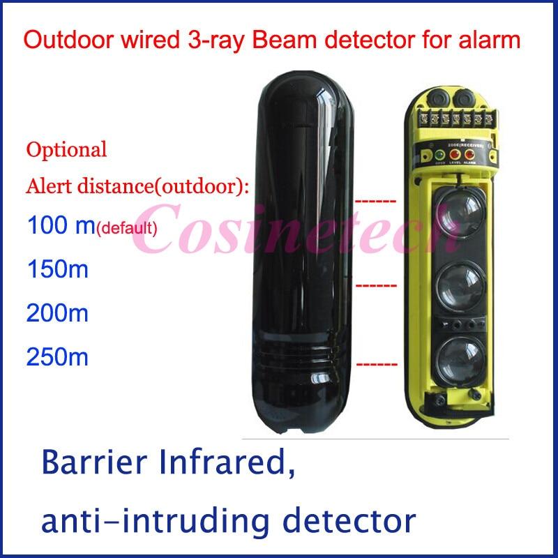 3 rayons tri-faisceau filaire extérieur/intérieur détecteur de faisceau capteur IR périmètre, barrière infrarouge mouvement système d'alarme de sécurité
