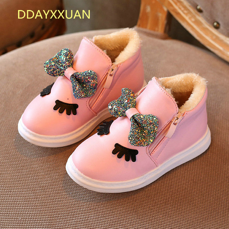 2017 Fashion New Winter Warm Children Boots For Girls PU Leather Kids Shoes Plush Ankle Martin Girl Felt Snow Boots With Zipper