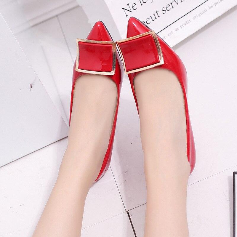 Charol Para Ayuda Señoras Aguja Cm Cabeza 6 Zapatos Beige Rojo Tacón Las negro Mujeres Hebilla rojo Alto 2018 De Boda Puntiaguda Gatos Bajo TPFwqS