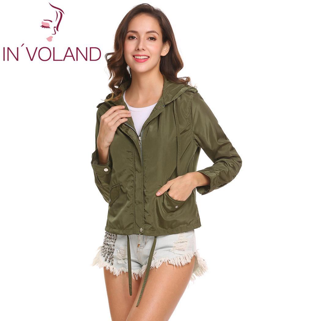 Sleeve 175cm Front Women 60cm Casual Waist Drawstring Long 90cm 86cm Height Hip Bust Pockets Hooded Coat Windbreaker Jacket