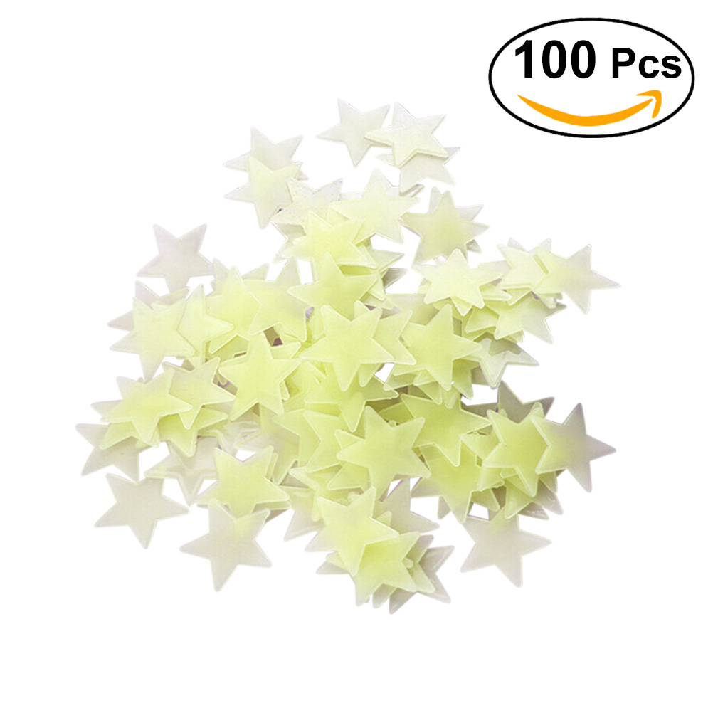 100pcs Stars Glow in the Dark Luminous Fluorescent 3D Wall ...