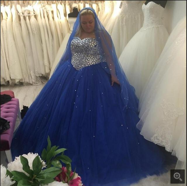 Plus Size Royal Blue Dresses prom gowns Bling Crystals Beaded Tulle 2016 ball  gown princess prom dress hot sale 59593fccfe33
