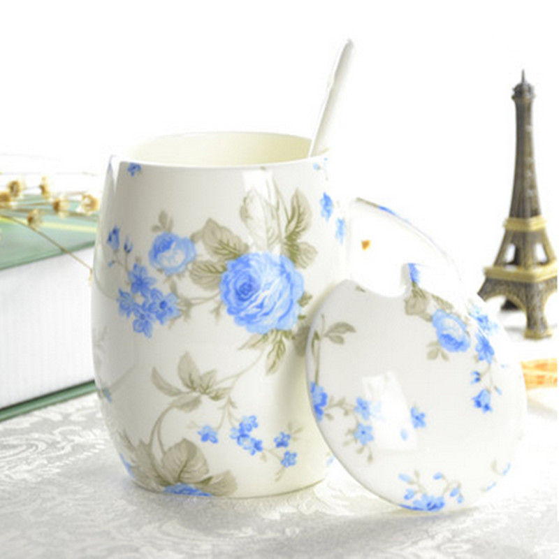 Ceramic Coffee Cup Taza Creative Mug With Lid And Spoon