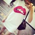 Hot Summer Women Short Sleeve Sequins Lip Casual Long Top Mini Dress X09