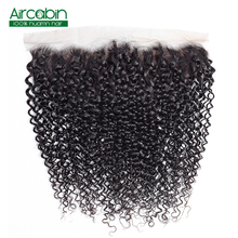 Pre Plucked Brazilian Kinky Curly Frontal Closure Aircabin NonRemy Human Hair 13x4 Lace