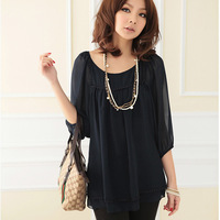 Plus Size Korean New 2014 Spring Summer Three Quarter Sleeve Women Clothing Fold Shirt Double Hem