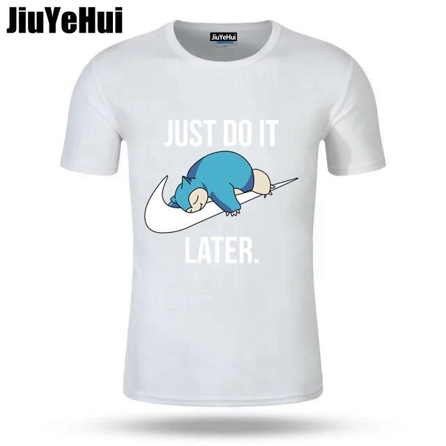 Just Do it Later Pokemon T-Shirt Reality Game Snorlax t shirt funny t shirt men clothing camisetas hombre short sleeve t-shirt 4