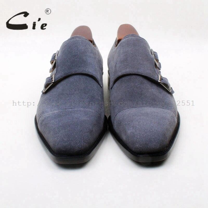 Cieตารางนิ้วเท้าคู่พระภิกษุสงฆ์สายรัดสีเทาเข้มหนังแฮนด์เมด100%หนังลูกวัวแท้Outsoleด้านล่างระบายอากาศผู้ชายรองเท้าMS133-ใน รองเท้าทางการ จาก รองเท้า บน   3