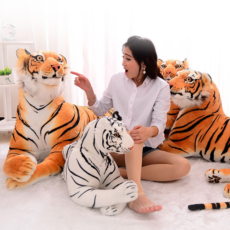 160 cm Belle 3D Simulation Tigre En Peluche Jouets Assis Tigre Doux Animaux Jouets Décoration de La Maison (Sans Coton)
