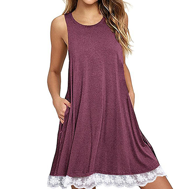 Summer Lace Up Woman Mini Dress Beach Bohemian Sleeveless Round Neck A line Loose Casual 2XL Sundresses  Clothes 2018 WS5707Z